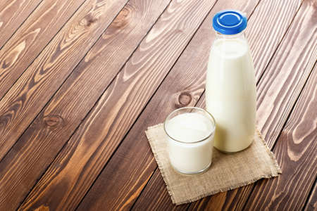 milk in glass and bottle
