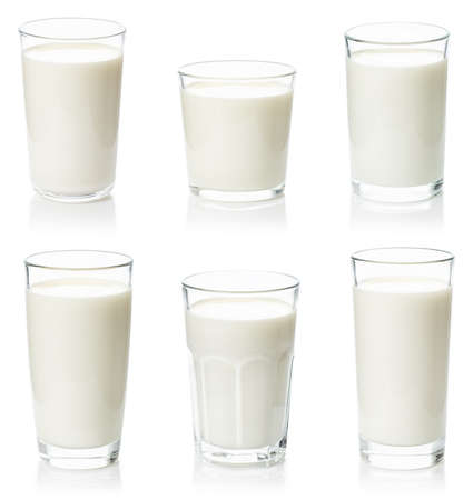 set of various glasses with milk Imagens