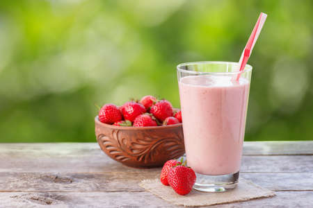 milkshake in glass with natural background