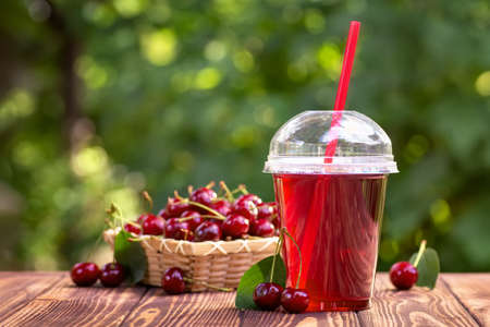 cherry juice in plastic cup