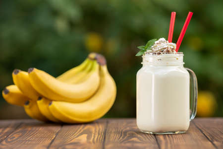 milkshake in mason jar with natural background