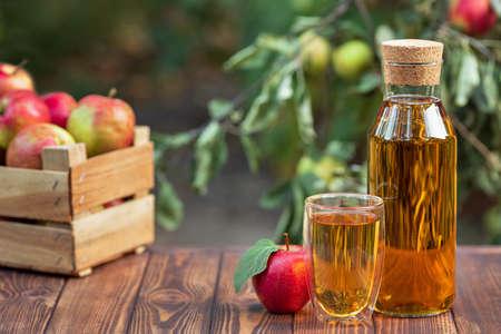 apple juice in glass and bottle Zdjęcie Seryjne - 129959849