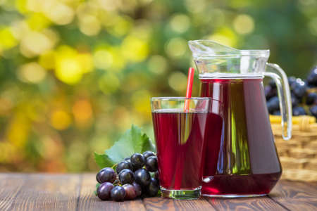 grape juice in glass and jug Zdjęcie Seryjne - 129959919
