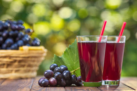 grape juice in two glasses