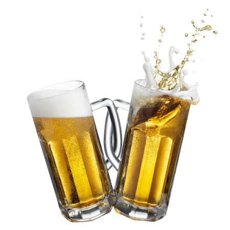two glass mugs with beer