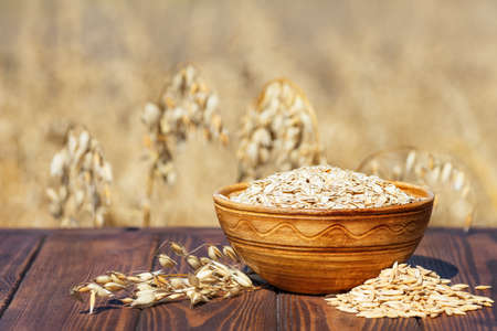 oat flakes and field