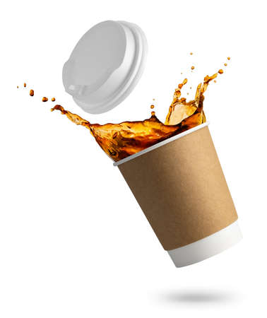 falling disposable cup with coffee splash