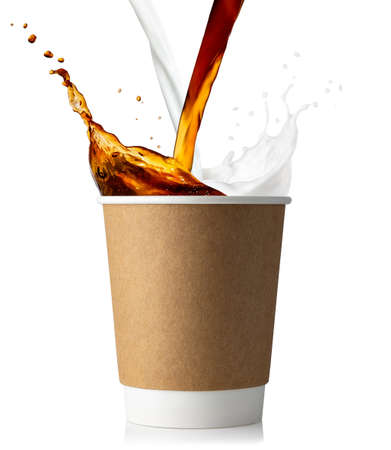 disposable cup with coffee and milk splashes