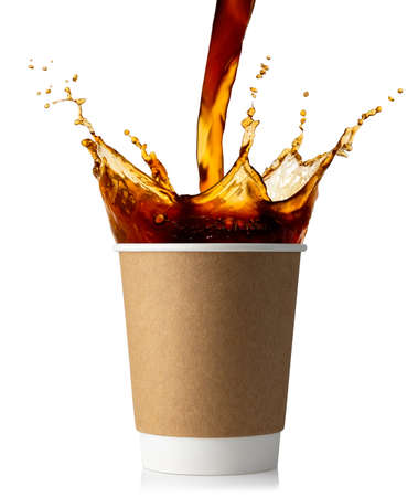 pouring coffee into disposable paper cup isolated on white background Stok Fotoğraf