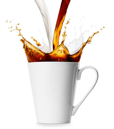 pouring coffee and milk into cup isolated on white background
