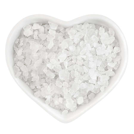 sea salt in heart shaped plate