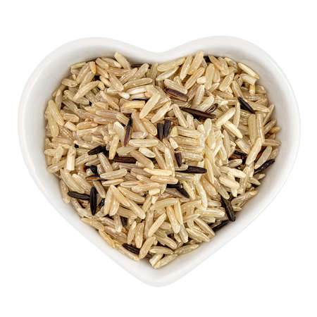 brown rice in heart shaped plate