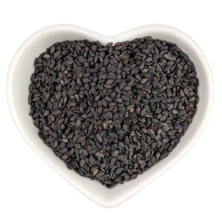 black sesame in heart shaped plate