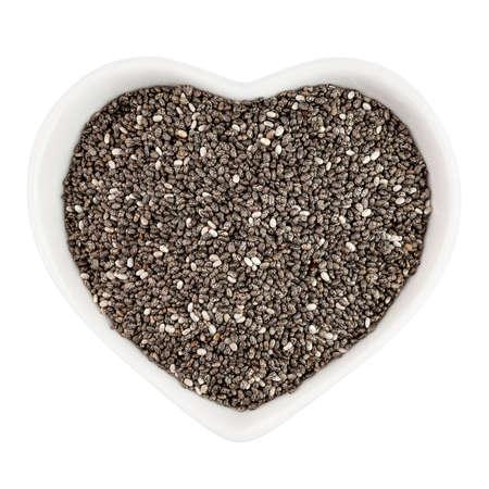 chia seeds in heart shaped plate Zdjęcie Seryjne