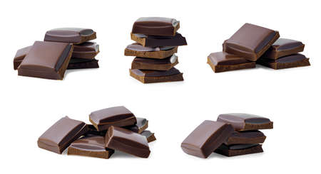 collection of chocolate pieces Imagens