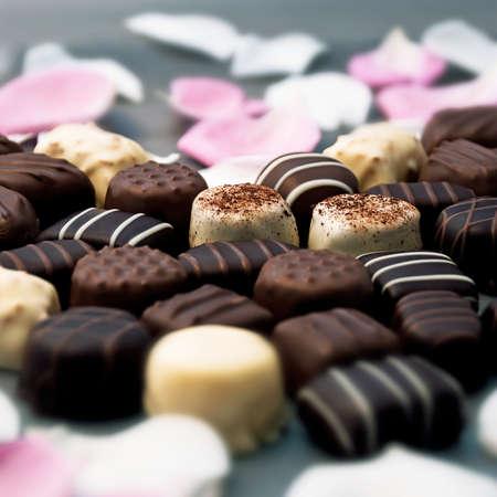Chocolate truffles and rose petals  Banco de Imagens
