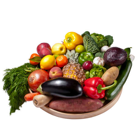 Fruit and vegetables tray - White background  photo