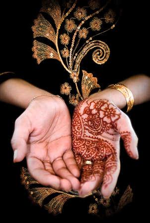 henna: Mehendi, henna on bride s hand - Color