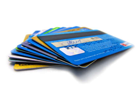 credit card debt: Credit and debit card stack              Stock Photo