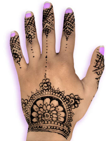 Henna hena mehendi design - isolated purple nails and shadow                        photo