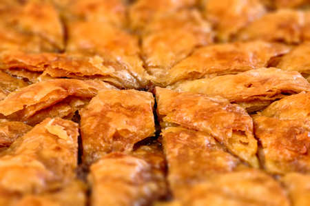 filo pastry: Homemade baklava - Turkish filo sweet pastry 02 Stock Photo
