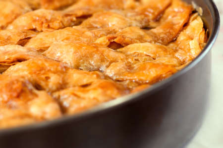 filo pastry: Homemade baklava - Turkish filo sweet pastry 04