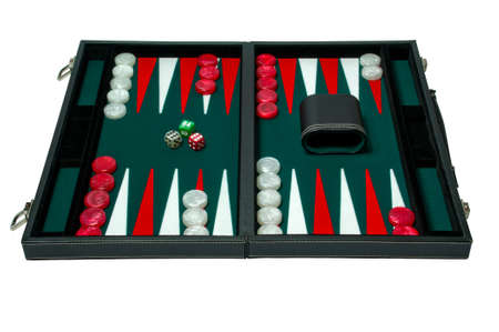 Backgammon board game - clipping path Stock Photo