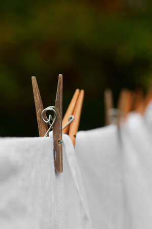 pinned: Washing line and clothes peg Stock Photo