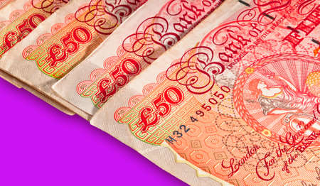 Fifty pounds sterling UK Currency - Macro shot with clipping path for easy background drop and extraction  photo