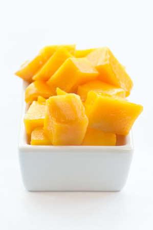 Mango Cubes on a white dish 02