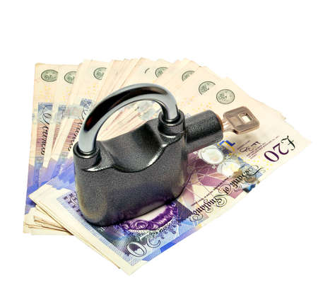Money and padlock safety concept clipping path included photo