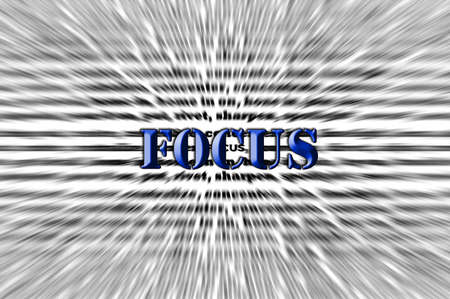 zoomed: Focus - Chisel text Effect - blue Stock Photo