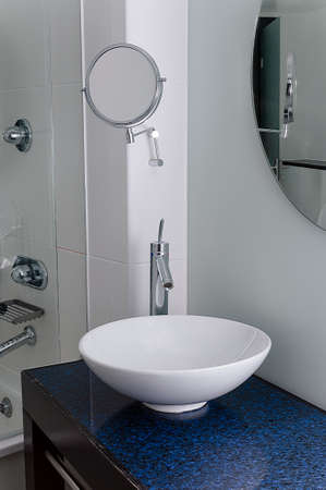 bowl sink: Sink bathroom bowl mirror clean contemporary Stock Photo