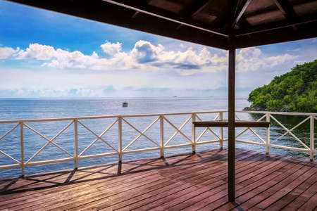 Balcony porch sea view in Trinidad and Tobago island Stock Photo