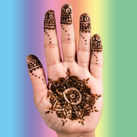 impermanent: Henna hand tattoo decoration art clipping path square color background Stock Photo