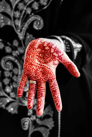 impermanent: Henna hand tattoo body art tradition color Stock Photo