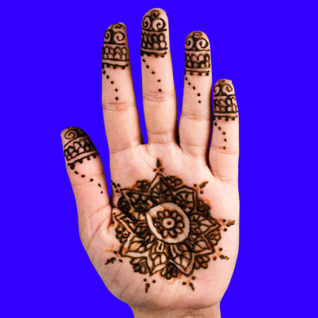 impermanent: Henna hand tattoo decoration art clipping path square blue background square