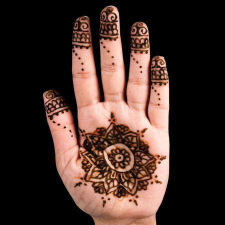 impermanent: Henna hand tattoo decoration art clipping path square black background