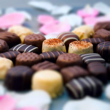 Romantic chocolate truffles and white roses heart shape setup square composition Banco de Imagens