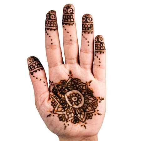 impermanent: Henna hand tattoo decoration art clipping path square white background