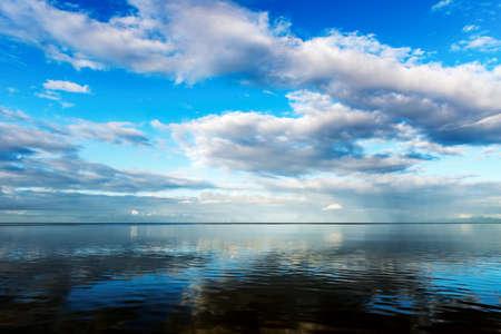 sea view: Seascape blue sky calm sea at dawn in Trinidad and Tobago