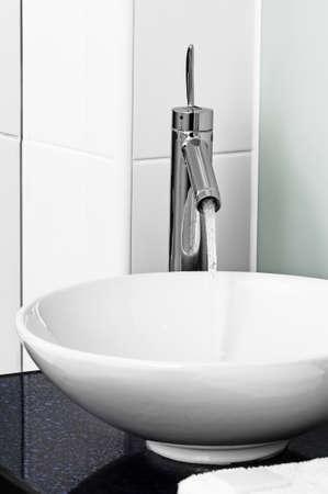 stilish: Bathroom modern contemporary stilish sink basin faucet tap ceramic water on