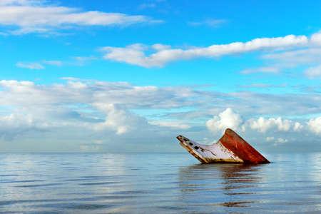 ship wreck: Ship wreck rusty landscape sinking into the sea Trinidad and Tobago