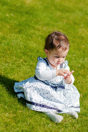 curiously: Cute chubby toddler looking at dandelion seeds curiously exploring nature outdoors in the park