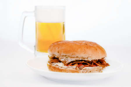 Doner Kebab burger with cold beer white background Stock Photo