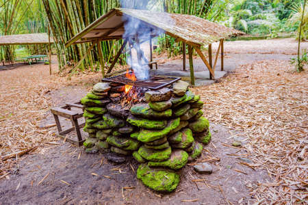 Fire pit place with stones in the jungle for barbecue outdoors camping Stock Photo