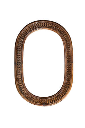 Wooden mirror frame border old oval brown on white background single one aged classic traditional decorative antique unique style