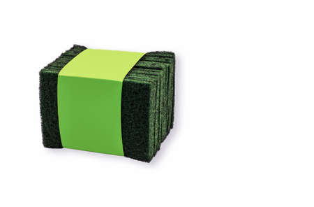 Green Scouring Pads Tied up white background washing up rough texture Banco de Imagens
