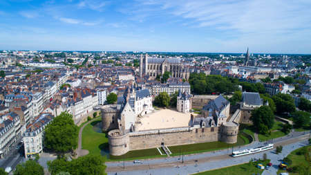Aerial photo of Nantes castle, castle of the Dukes of Brittany, Loire Atlantique Editorial