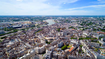 Aerial panorama of Nantes city, Loire Atlantique, France